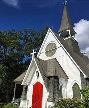 St. Paul UMC among the many beautiful churches in downtown Ocean Springs.