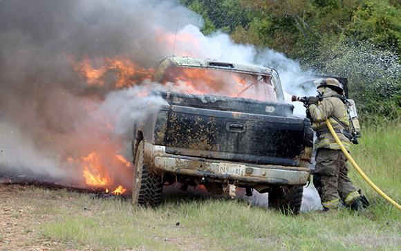 truck fire gregory